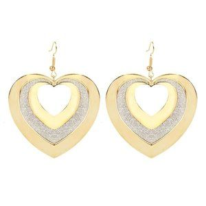 3/$20 3/$20 Sparkly Gold Heart Statement Earrings